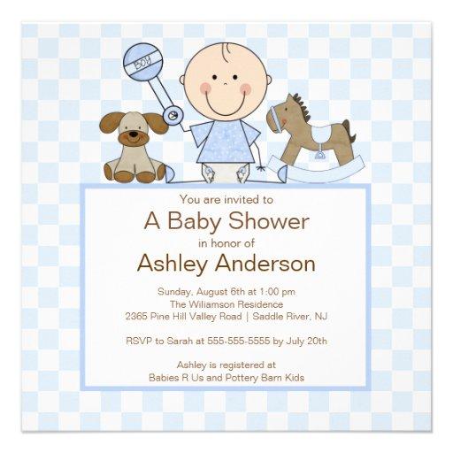 Niedliche Strichmännchen-Jungen-Baby-Dusche Individuelle Ankündigungskarte
