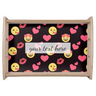 niedliche süße emoji Liebeherzen küssen Tablett