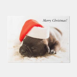 Niedliche süße Weihnachtswelpen-Hundeabnutzung Türmatte