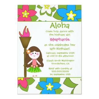 Niedliche tropische hula Mädchen-Geburtstags-Party 12,7 X 17,8 Cm Einladungskarte