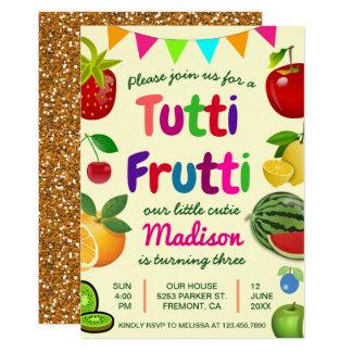 Niedliche Tutti Frutti Sommer-Geburtstags-Party 12,7 X 17,8 Cm Einladungskarte