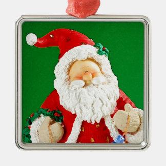 Niedliche Weihnachtssankt-Zahl Silbernes Ornament