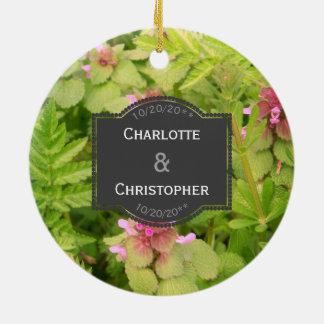 Niedliche wilde Blumen-personalisierte Rundes Keramik Ornament