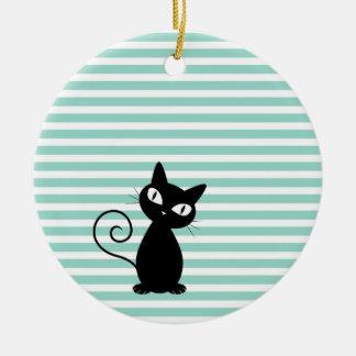 Niedliche wunderliche schwarze Katze auf Streifen Rundes Keramik Ornament