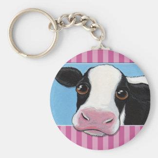 Niedliche wunderliche schwarze u. weiße Kuh mit Schlüsselanhänger