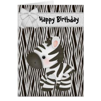 Niedliche Zebra-u. Kuchen-(nach innen) Karte