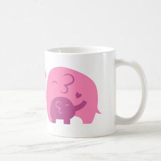 Niedlicher Baby-Elefant und Mama-Eltern-Liebe Tasse