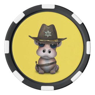 Niedlicher Baby-Flusspferd-Sheriff Pokerchips