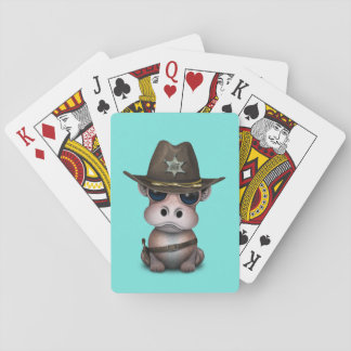 Niedlicher Baby-Flusspferd-Sheriff Spielkarten