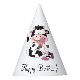 Niedlicher Baby-Kuh-Cartoon mit seiner Partyhütchen