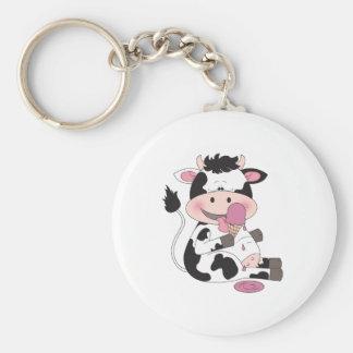 Niedlicher Baby-Kuh-Cartoon mit seiner Schlüsselanhänger