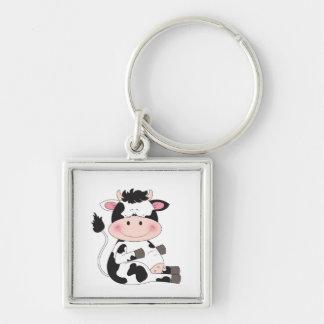Niedlicher Baby-Kuh-Cartoon Schlüsselanhänger