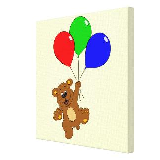 Niedlicher Bär mit Ballon-Cartoon scherzt Leinwand