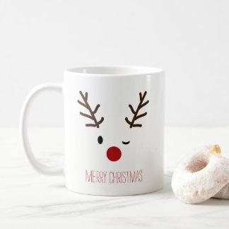 Niedlicher blinzelnder Rudolf-Ren-Weihnachtskaffee Tasse