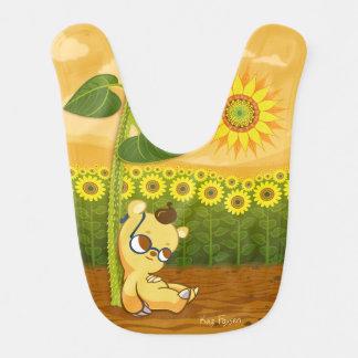 Niedlicher Cartoon-Bär mit Sonnenblumen Lätzchen