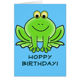 Niedlicher Cartoon-Frosch-hopfenreicher Grußkarte