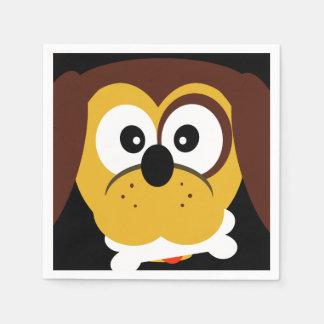 Niedlicher Cartoon-Hund mit dem Knochen scherzt Servietten