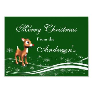 Niedlicher Cartoon-Ren-Weihnachtsgruß 12,7 X 17,8 Cm Einladungskarte