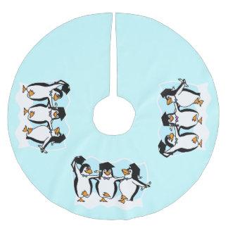 Niedlicher Cartoon schloss Penguins ab Polyester Weihnachtsbaumdecke