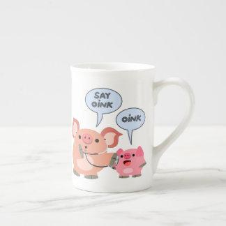 Niedlicher Cartoon-Schwein-Doktor und Patient Prozellantasse