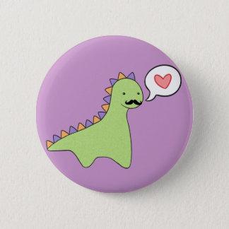 Niedlicher Dinosaurier-Schnurrbart Runder Button 5,7 Cm