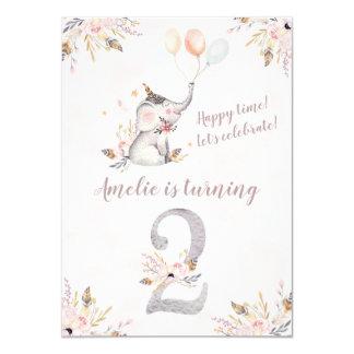 Niedlicher Elefant Boho Blumen2. Geburtstag laden Karte