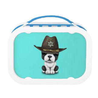 Niedlicher französische Bulldoggen-Welpen-Sheriff Brotdose