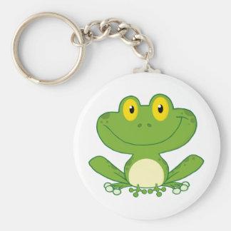 Niedlicher Frosch-Cartoon-Charakter Standard Runder Schlüsselanhänger