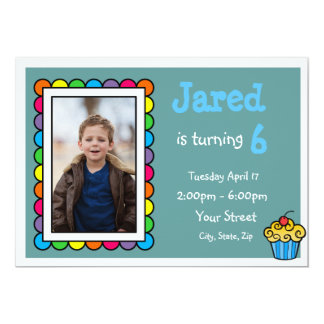 Niedlicher gerahmter Kindergeburtstag laden ein 12,7 X 17,8 Cm Einladungskarte