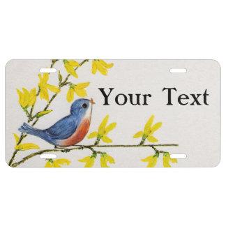 Niedlicher Gesang-blaue Vogel-Baum-Niederlassung US Nummernschild