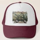 Niedlicher glücklicher Lagerbewohner großer RV-Zug Truckerkappe