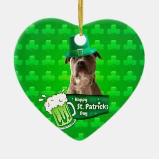 Niedlicher Gruben-Stier-Hundehut-St Patrick Klee Keramik Ornament