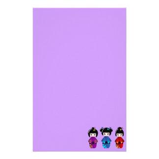 Niedlicher kokeshi Puppen-Cartoon Briefpapier