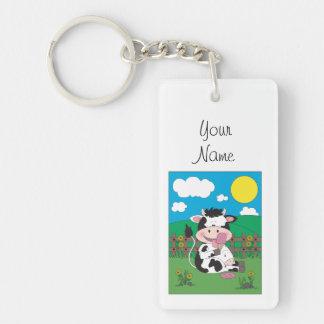 Niedlicher Kuh-Cartoon Schlüsselanhänger