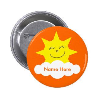 Niedlicher kundengerechter glücklicher Sunorange N Runder Button 5,7 Cm