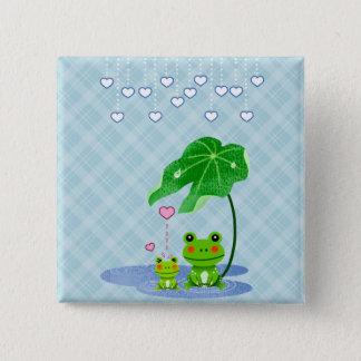 Niedlicher Liebe-Herz-Regen u. Frösche - Liebe Quadratischer Button 5,1 Cm