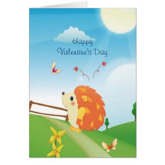Niedlicher Liebe-Igel mit Schmetterlings-sonnigem Grußkarte