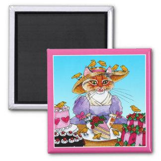 Niedlicher lustiger Katze Marie Antoinette Magnet Quadratischer Magnet