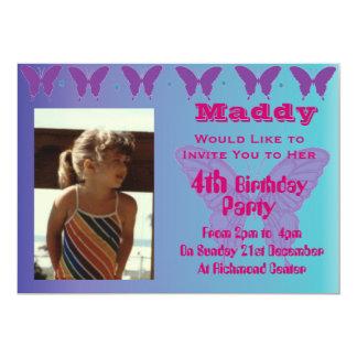 Niedlicher Mädchen-Geburtstags-Party 12,7 X 17,8 Cm Einladungskarte