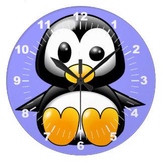 Niedlicher Penguin auf blauer Wand-Uhr Wanduhr
