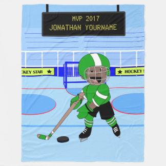 Niedlicher personalisierter Eis-Hockeystern Fleecedecke
