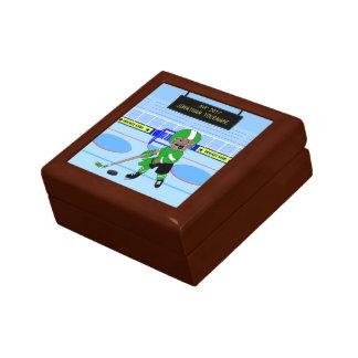 Niedlicher personalisierter Eis-Hockeystern Kleine Quadratische Schatulle