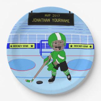 Niedlicher personalisierter Eis-Hockeystern Pappteller 22,9 Cm