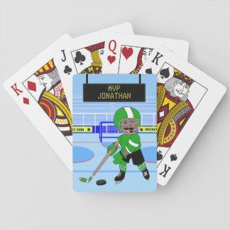 Niedlicher personalisierter Eis-Hockeystern Spielkarten
