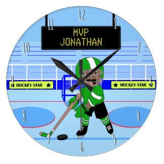 Niedlicher personalisierter Eis-Hockeystern Wanduhren