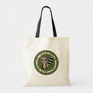 Niedlicher Raccoon-OM-Kreis des Grüns Tragetasche