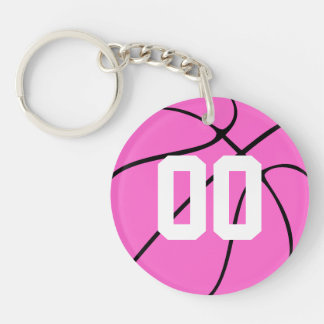 Niedlicher rosa Basketball-kundenspezifische Schlüsselanhänger