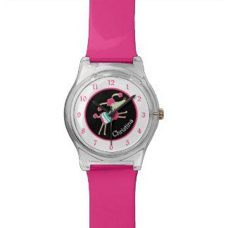 Niedlicher rosa Pudel personalisiert Uhr