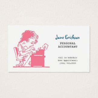 Niedlicher rosa Retro Karikatur-Frauen-Buchhalter Visitenkarte