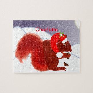 Niedlicher rotes Eichhörnchen-Weihnachtsfeiertag Puzzle